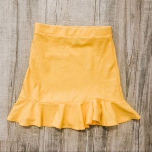 peplum mermaid miniskirt canary yellow